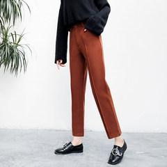 2017 winter wool suit pants female slim nine straight waist pants loose wide leg pants Haren leisure XS Caramel color
