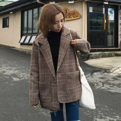 2017 new autumn Korean retro college wind thin long sleeved Plaid small loose all-match suit dress F Brown Plaid