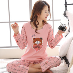 Pajamas, women's autumn, pure cotton long sleeves, thickened Korean version, spring and winter winter clothes, students' suits, sweet, lovely and refreshing summer XL code [weight 115-130 Jin] Long sleeve pocket cat