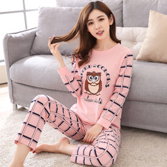 Autumn autumn and winter can wear pajamas female cotton long sleeved cotton suit thin spring autumn Home Furnishing two piece suit L (100-115 Jin) Cartoon dog — long sleeve pants