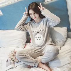Pajamas female winter thickening, sweet and lovely coral velvet fresh students Korean autumn flannel home clothing cartoon M Totoro Velvet - Pink (single pocket)