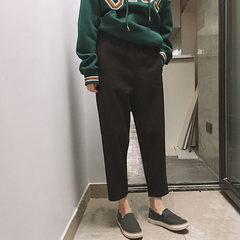 Korean winter women's casual pants loose thin thick woolen pants suit pants pants pants Haren nine students S Dark grey