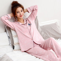 In spring and autumn, pajamas, women, autumn, cotton, long sleeve, Korean version, sweet and lovely, autumn and winter thickening can be worn outside the home suit Female XL code (115-135 Jin) F2715 pineapple