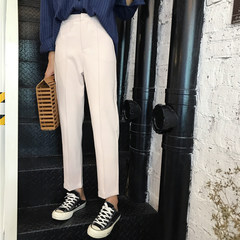 Nine straight pants fall 2017 new Korean all-match waist thin Haren suit pants female pipe S Apricot button