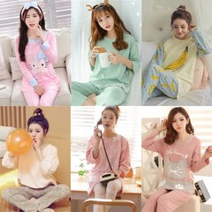 Autumn and autumn pajamas women autumn long sleeved thin winter, Korean version of fresh lace, student home dress two sets of women L [99-115 Jin] Wheat ear love