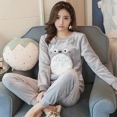 Korean winter sweet Coral Fleece Pajamas female chinchillas suit fresh students wear flannel Home Furnishing thickening 2 sets, minus 5 yuan Lemon yellow