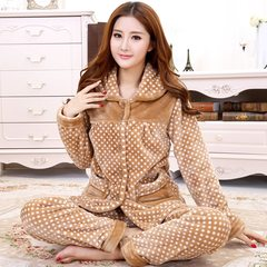 Every day special autumn winter thickening flannel pajamas, coral velvet pajamas, women's home clothes, lovely Korean Suite M. Pink Bear