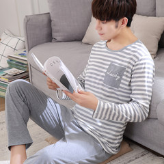 Men's pajamas, men's long sleeves, pure cotton, spring and autumn, youth, big size, male, cotton, summer, thin home suit, winter suit If the quality of the problem, through the wash can be returned transparent
