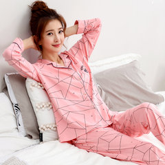 Spring and autumn winter cotton long sleeved suit pajamas lady a Korean sweet cardigan clothing Home Furnishing thickening [XL] pure cotton does not pilling Y1971#