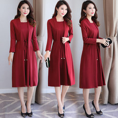 2017 false two knee dress autumn female middle-aged mother, slim long sleeved code base skirt XL [115 Jin below] green