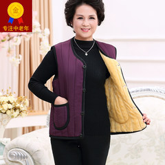 [] every day special offer in the elderly with thick winter velvet vest female mother dress Cotton Vest Jacket XL (weight less than 130 Jin) Black man send father