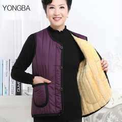 Autumn and winter the elderly mother dress and cashmere lady vest vest vest thickened code old cotton Ma Jianv 3XL Black