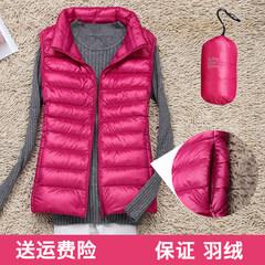 A thin season down jacket all-match warm waistcoat short size mother female Vest Jacket Vest 3XL Claret