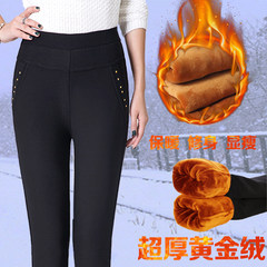 Every day in the autumn and winter high waist pants pants special offer old middle-aged mother Pants Plus velvet Leggings thick winter clothes 5XL[2.8-3 feet] 150-165 Jin Classic blue