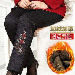 The elderly and women's cashmere trousers winter thickened loose pants trousers elderly mother grandmother wear warm pants XXXXL [140-170 Jin] Character embroidery