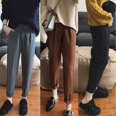 Autumn and winter leisure students relaxed waist code cigarette pants nine feet pants suit female woolen Haren pants pants 3XL Black trousers fabric