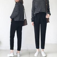 Autumn winter Haren pants pants nine Korean jeans size all-match cigarette pants chic casual suit pants 3XL black