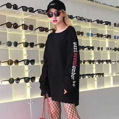 2017 new autumn Korean couple loose all-match letters long sleeve shirt jacket shirt for men and women students tide M black