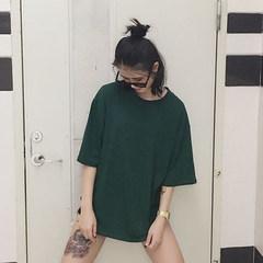 South Korea INS a loose code trendsetter hem slit solid T-shirt handsome men and women couples dress tide fried coat M Blackish green
