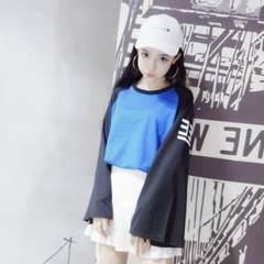 South Korea ulzzang Harajuku Japanese women couples dress loose and long sleeve T-shirt printing wind female class service M Black and blue