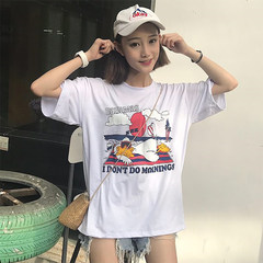 Summer fashion cute cartoon printed letters loose T-shirt casual jacket tide student couples F Large white
