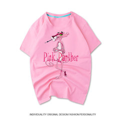 Couples dress pink cotton short sleeved summer ulzzang female size loose Pink Panther cartoon T-shirt short sleeve tide brand S (90-110 Jin) Pink