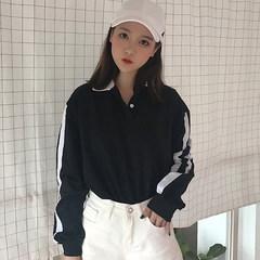 Autumn dress women's clothing, Korean style loose collar stripe sleeve, long sleeve T-shirt, lovers' polo shirt, students' bottoming shirt F black