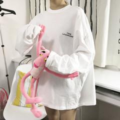Autumn Korean alphabet printed long long T-shirt all-match loose turtleneck blouse couples dress shirt F black