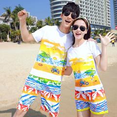 2017 new couples dress summer beach honeymoon beach suit size short sleeved t-shirt men and Women Beach Female XL+XXL pants [111-120 Jin] 8189 color spray