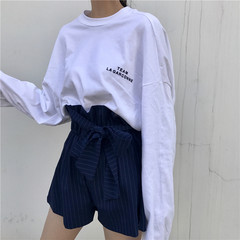 Harajuku all-match wind in the long sleeved ulzzang Vintage Floral Top loose T-shirt lovers letter students tide F Tibet Navy