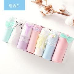 Girls underwear female cotton lady energy-saving 7 fresh boxed waist cotton fabric briefs students Size (waist 1.8-2.2 feet) Combination E- flowers