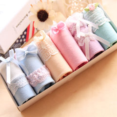 Cotton underpants waist size Japanese cute girl sexy lace cotton waist briefs head gift box All the waist 1.7-2.2 feet National beauty and heavenly fragrance -- Peony