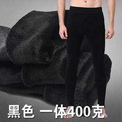Autumn and winter thick warm pants male single men long johns slim Leggings plus wool pants pants pants pants 170 (L) (400 grams black) with cashmere thickening