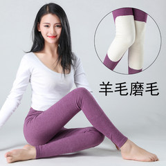 Women wearing long johns thickened cotton backing pants with a thin line of cashmere kneepad warm pants wearing cotton trousers piece 165 (L) Violet