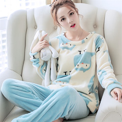 Coral velvet pajamas lovely female thickening, autumn and winter edition, winter long sleeve, thin Flannel Suit M code (early purchase, early delivery)