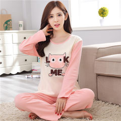Every day special autumn and autumn pajamas, women autumn cotton long sleeved set of Korean version, fresh students, ladies winter home, summer clothes M code (75-95 Jin comfortable / Pro skin / breathable) Gradient powder