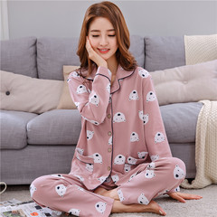 Special offer every day in spring and autumn female cotton pajamas long sleeved cardigan suit cotton XL loose clothing Home Furnishing confinement 2XL [kg] 140160 suggestions Light coffee