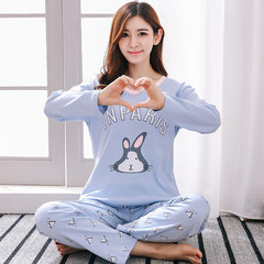 Autumn autumn and winter can wear pajamas female cotton long sleeved cotton suit thin spring autumn Home Furnishing two piece suit M (80-100 Jin) Blue rabbit — female long sleeved pants