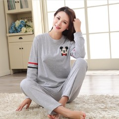 Every day special pajamas female autumn style cotton long sleeve Han version cute cartoon cotton girls home suit set big yards Female --S code (75~85 Jin) gray