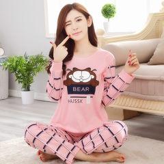 Spring and autumn season, lovely cotton long sleeve pajamas, women autumn thin, leisure Korean version, XL women's home clothes set autumn L Eight thousand eight hundred and five