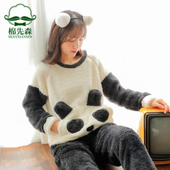 Pajamas, winter coral velvet, long sleeves, thickening, sweet and lovely, cartoon flannel home suit autumn and winter M Panda