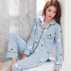 Spring and autumn winter cotton long sleeved suit pajamas lady a Korean sweet cardigan clothing Home Furnishing thickening [XL] pure cotton does not pilling A6931#
