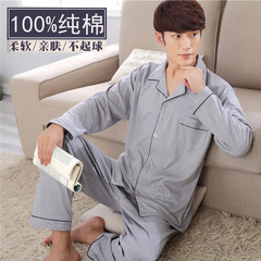 Men's pajamas, long sleeves, pure cotton, big autumn and spring, middle aged pajamas, men's thin cotton suits for autumn and winter, men's suits L 160-170cm weighs about 90-110 327 gray