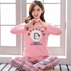 Pajamas, women's autumn, pure cotton long sleeves, thickened Korean version, spring and winter winter clothes, students' suits, sweet, lovely and refreshing summer XL code [weight 115-130 Jin] Long letter alphabet ox