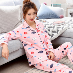 In spring and autumn, pajamas, women, autumn, cotton, long sleeve, Korean version, sweet and lovely, autumn and winter thickening can be worn outside the home suit Female L code (95-115 Jin) F2701 Pink Fish School