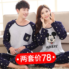 Spring and autumn pajamas, long sleeves, cotton suits, men and women, autumn, summer, thin winter, Korean version, lovely home clothes, female M+, male L bandits, cat long sleeves.