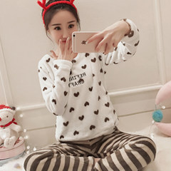 Ladies' pajamas in winter and winter, winter coral velvet cartoon lovely warm suit home clothes Warmth and skin does not fade, does not fade Velvet stripes love