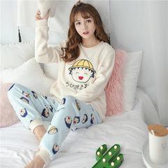 Pajamas female winter thickening, sweet and lovely coral velvet fresh students Korean autumn flannel home clothing cartoon M YL my velvet hat