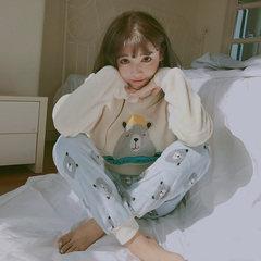 Korean winter sweet Coral Fleece Pajamas female chinchillas suit fresh students wear flannel Home Furnishing thickening 2 sets, minus 5 yuan Bear bear