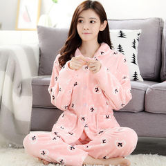 Every day special autumn winter thickening flannel pajamas, coral velvet pajamas, women's home clothes, lovely Korean Suite M. Peach bow